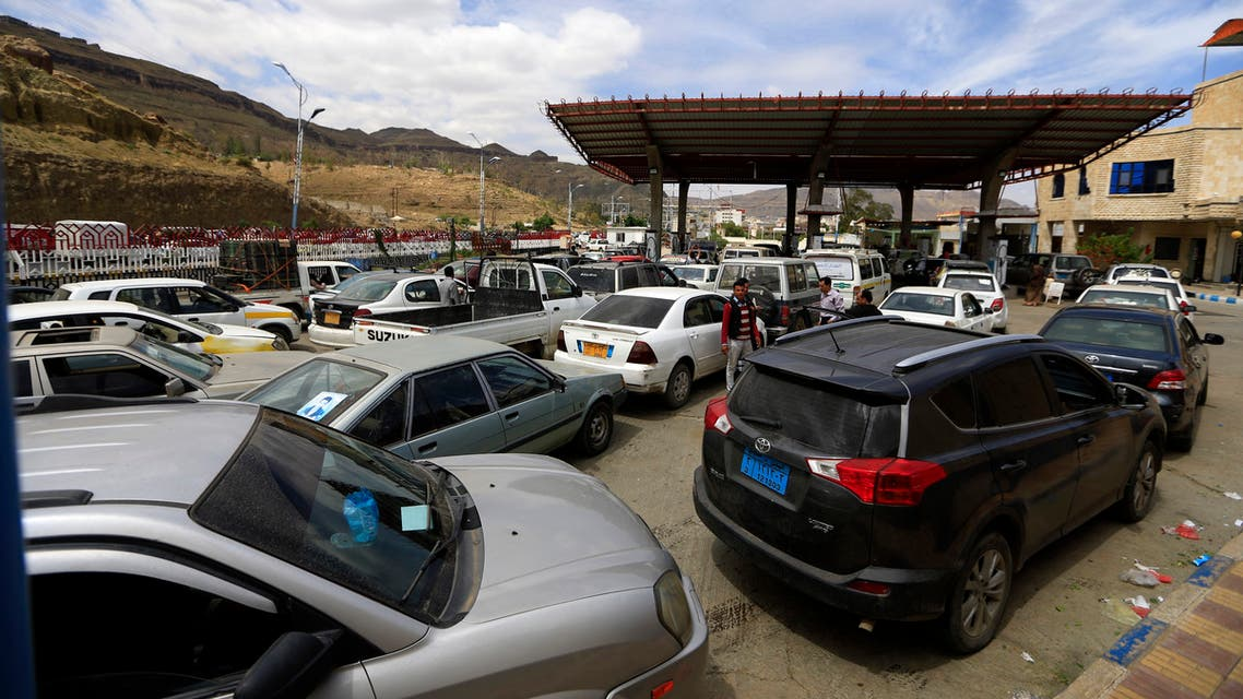 Yemeni drivers wait in line to refill their cars at a petrol station amid fuel shortages in the capital Sanaa, on October 14, 2019. War-ravaged Yemen is on course to become the world's poorest country if the conflict persists, the United Nations said in a report earlier this month. Yemen, long the poorest country in the Arabian Peninsula, plunged into war after Huthi rebels seized the capital Sanaa in late 2014.