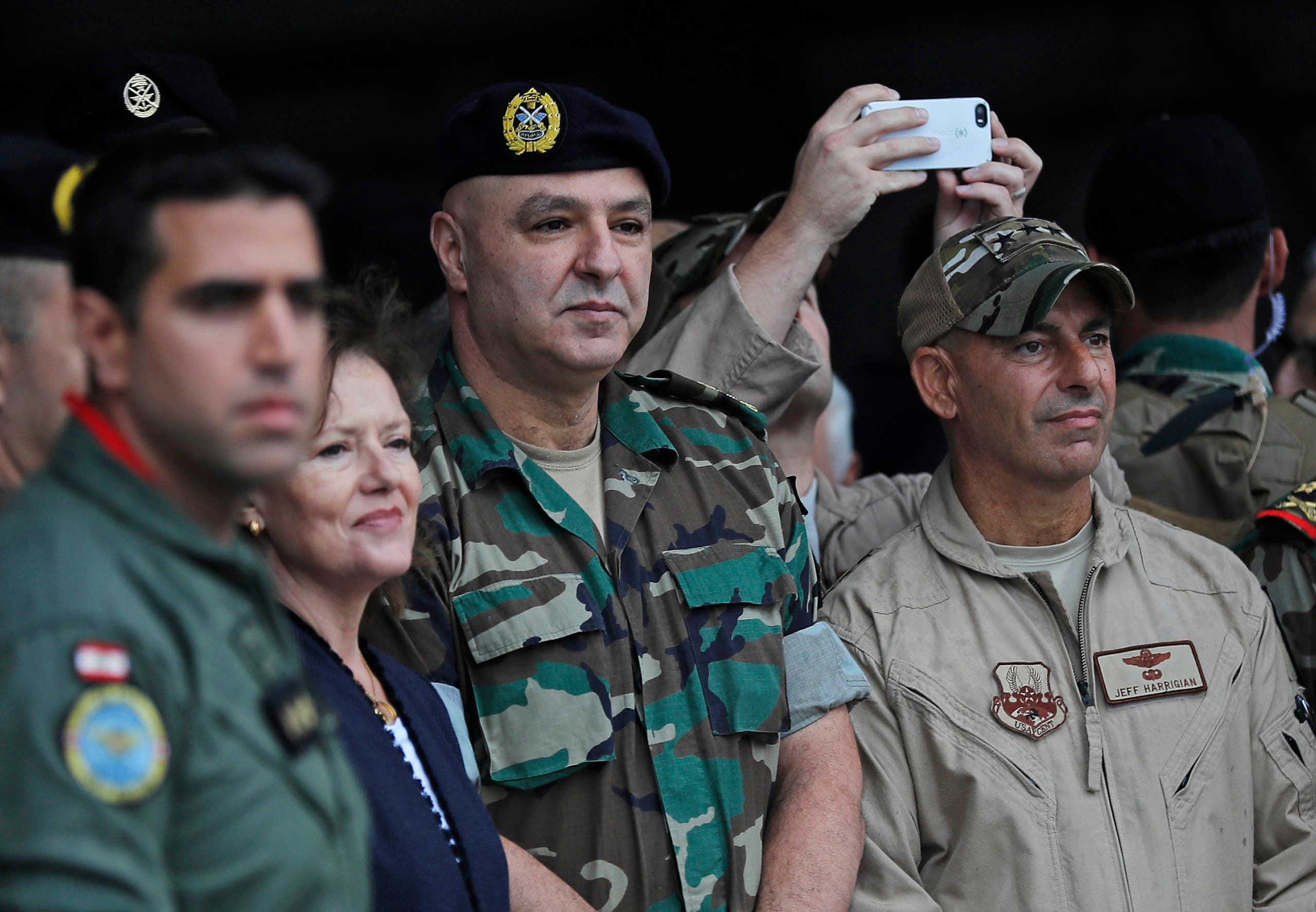 Lebanese Army Commander Gen. Joseph Aoun, center, with then-US Ambassador to Lebanon Elizabeth Richard, second left, at Hamat military air base, in north Lebanon on Oct. 31, 2017. (AP)