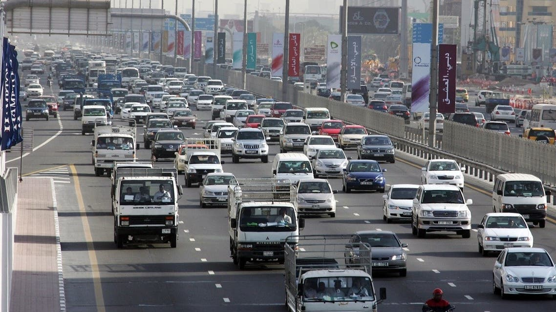 Traffic moves along Sheikh Zayed road in the heart of Dubai, 15 March 2007. (AFP)