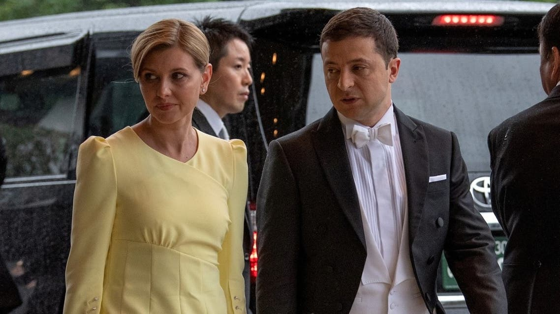 Ukraine's President Volodymyr Zelensky and his wife Olena Zelenska attend the enthronement ceremony of Japan's Emperor Naruhito at the Imperial Palace in Tokyo. (Reuters)