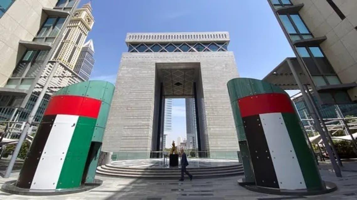 A man walks at the Dubai International Financial Centre in Dubai. (Reuters)