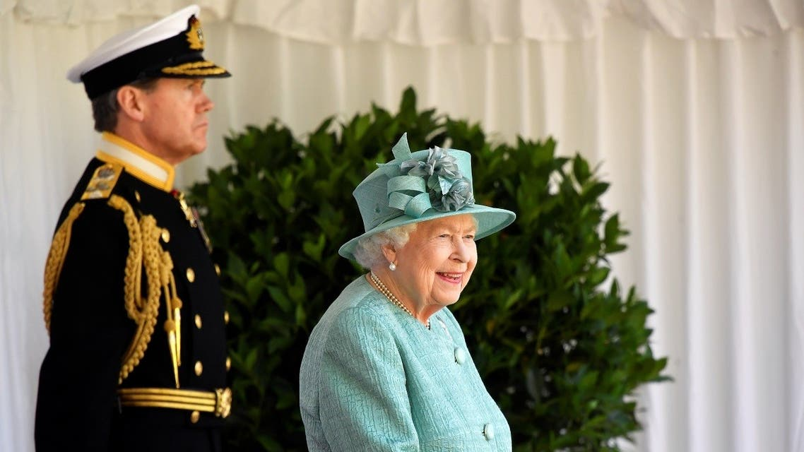 Britain's Queen Elizabeth II attends a ceremony to mark her official birthday at Windsor Castle in Windsor, southeast England on June 13, 2020. (AFP)