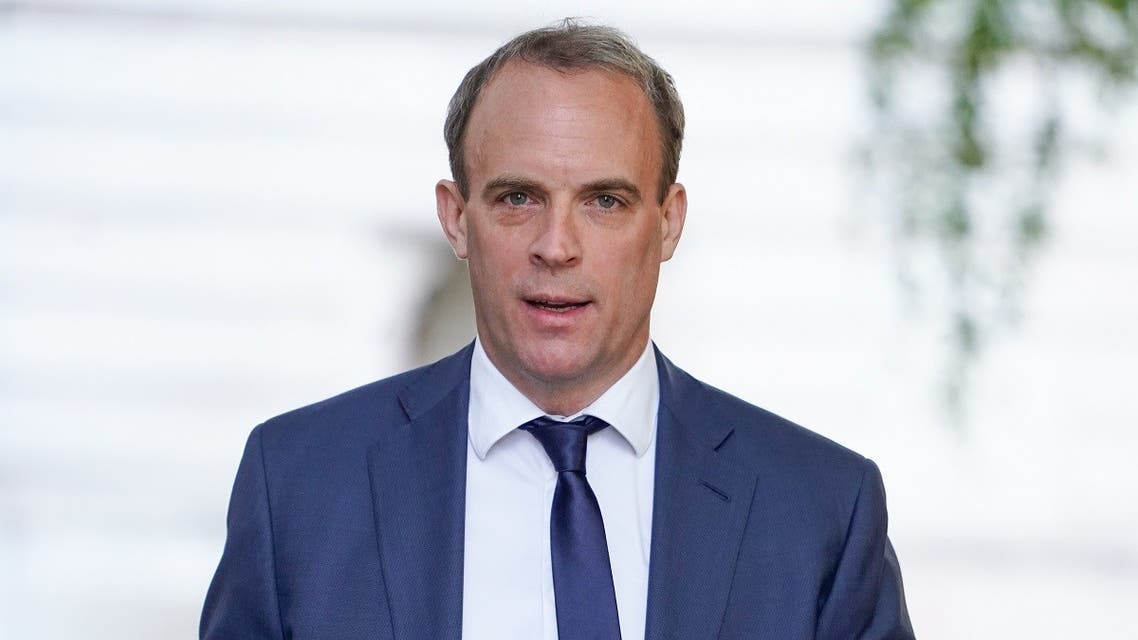 Britain's Foreign Secretary Dominic Raab arrives in Downing street in central London on May 28, 2020. (AFP)