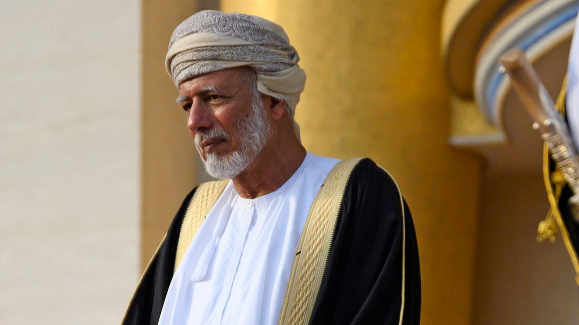 Oman's Minister of Foreign Affairs Yusuf bin Alawi bin Abdullah waits for the arrival of US Secretary of State at al-Alam palace in the capital Muscat on February 21, 2020.