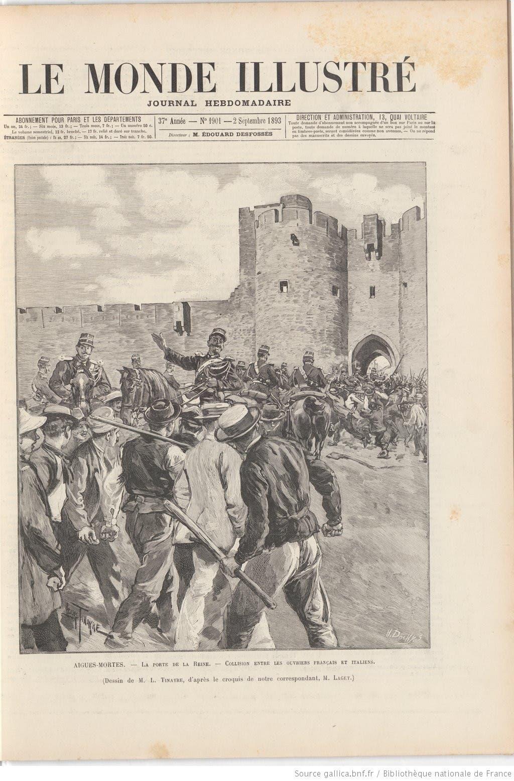 غلاف احدى المجلات الفرنسية التي نقلت واقعة مذبحة العمال الإيطاليين