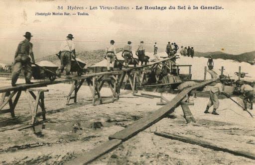 صورة لعمال الملاحات اثناء نقلهم للملح