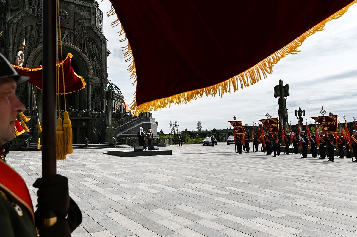 Russian Army servicemen line up during a service consecrating the new Resurrection of Christ Cathedral, outside Moscow, Russia June 14, 2020. (Reuters)