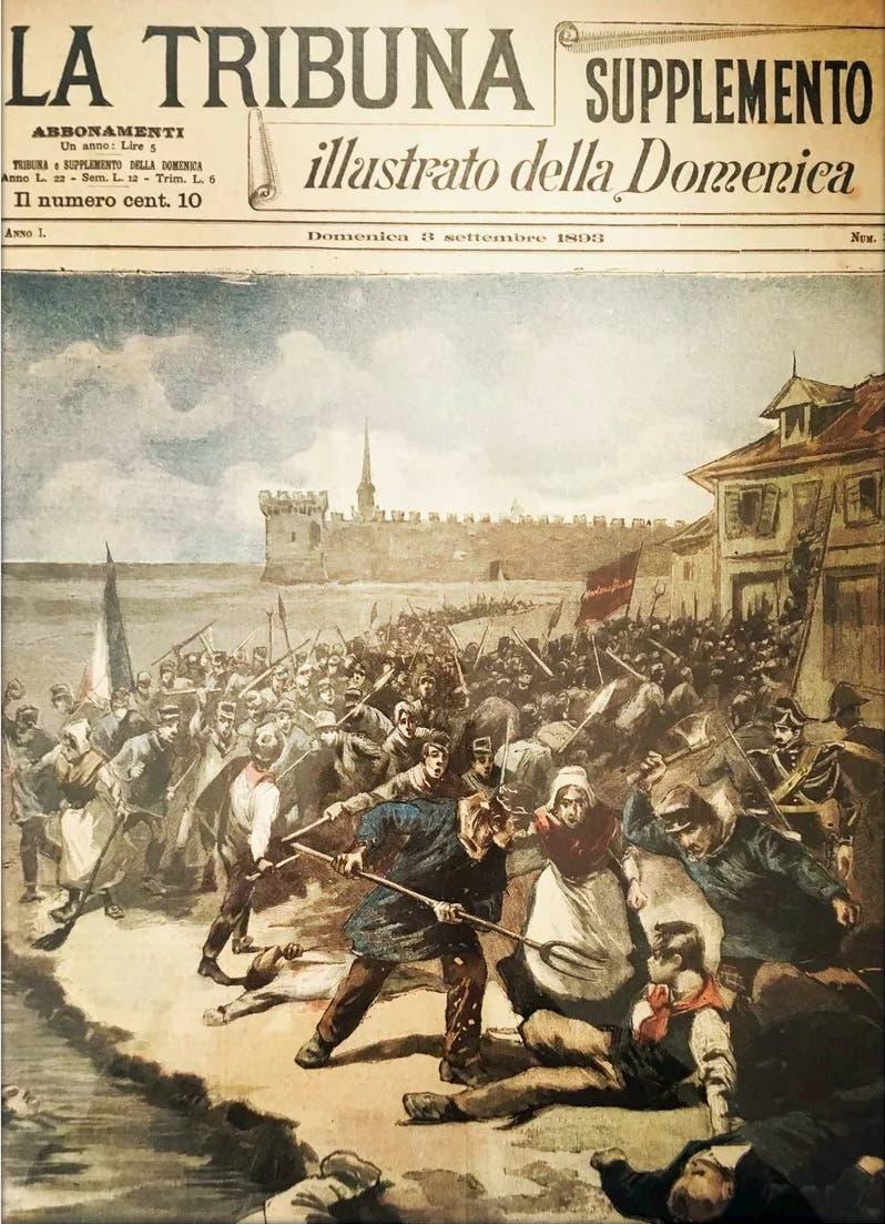 غلاف احدى المجلات الإيطالية التي نقلت واقعة مذبحة العمال الإيطاليين