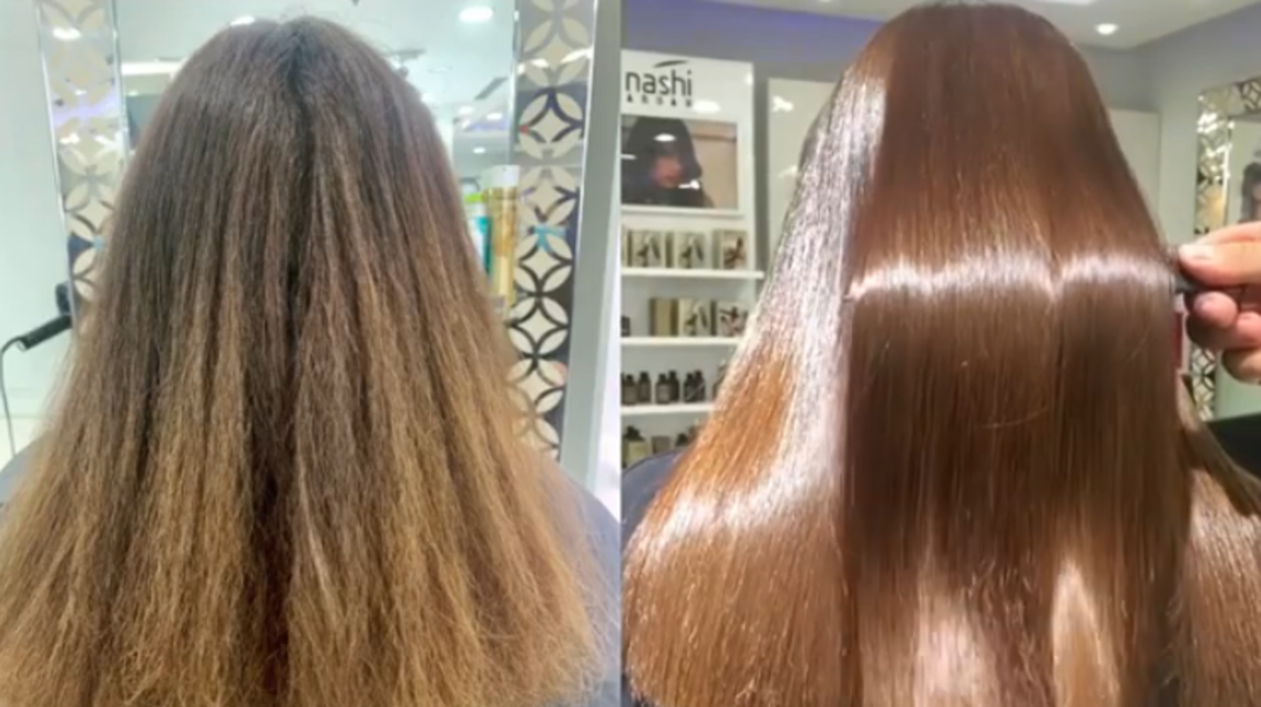 Before and after photos of a Hair Botox treatment. (Courtesy: Hush Salon)