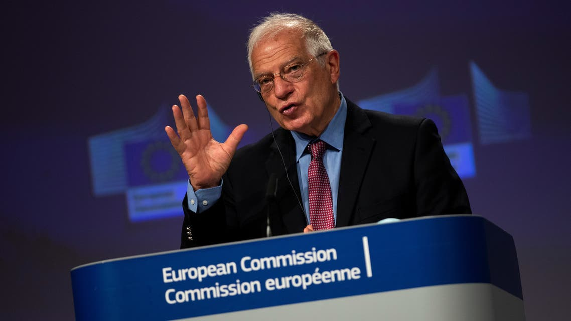 European High Representative of the Union for Foreign Affairs, Josep Borrell addresses a joint online news conference with European Commissioner for Values and Transparency Vera Jourova following a weekly College of Commissioners meeting at EU headquarters in Brussels, Belgium June 10, 2020. Francisco Seco/Pool via REUTERS