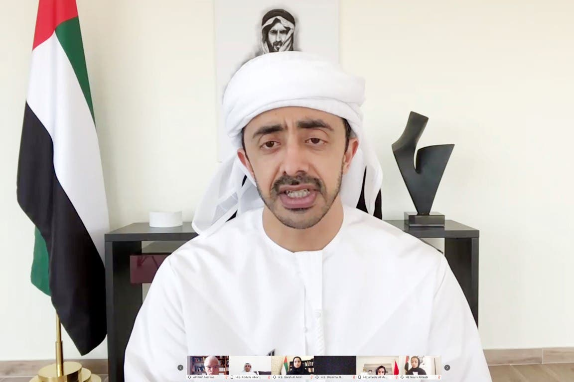 UAE Minister of Foreign Affairs Sheikh Abdullah bin Zayed Al Nahyan during the virtual meeting on education. (WAM)