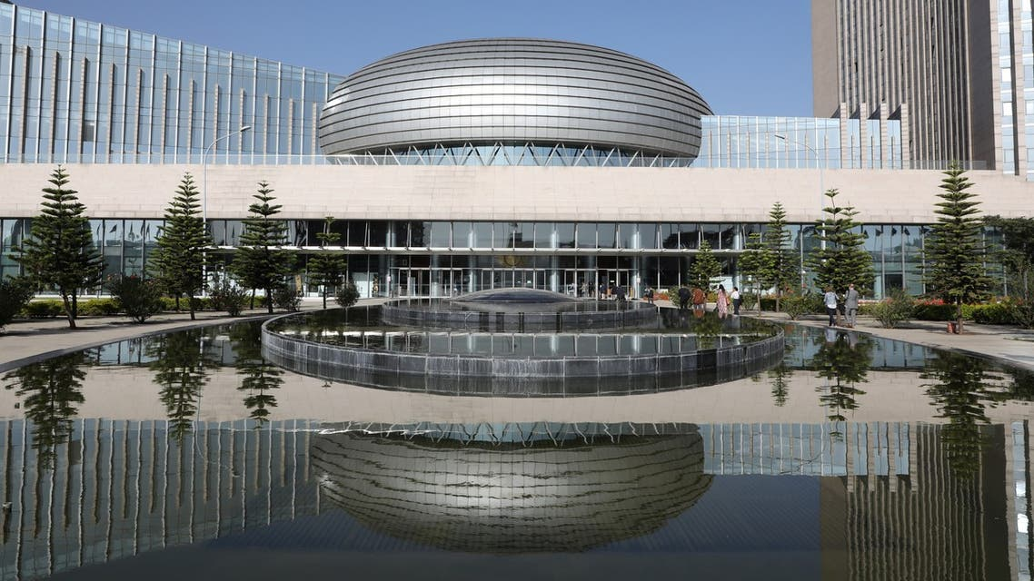 The facade of the headquarters of the African Union (AU) is pictured on March 13, 2019, in Addis Ababa.
