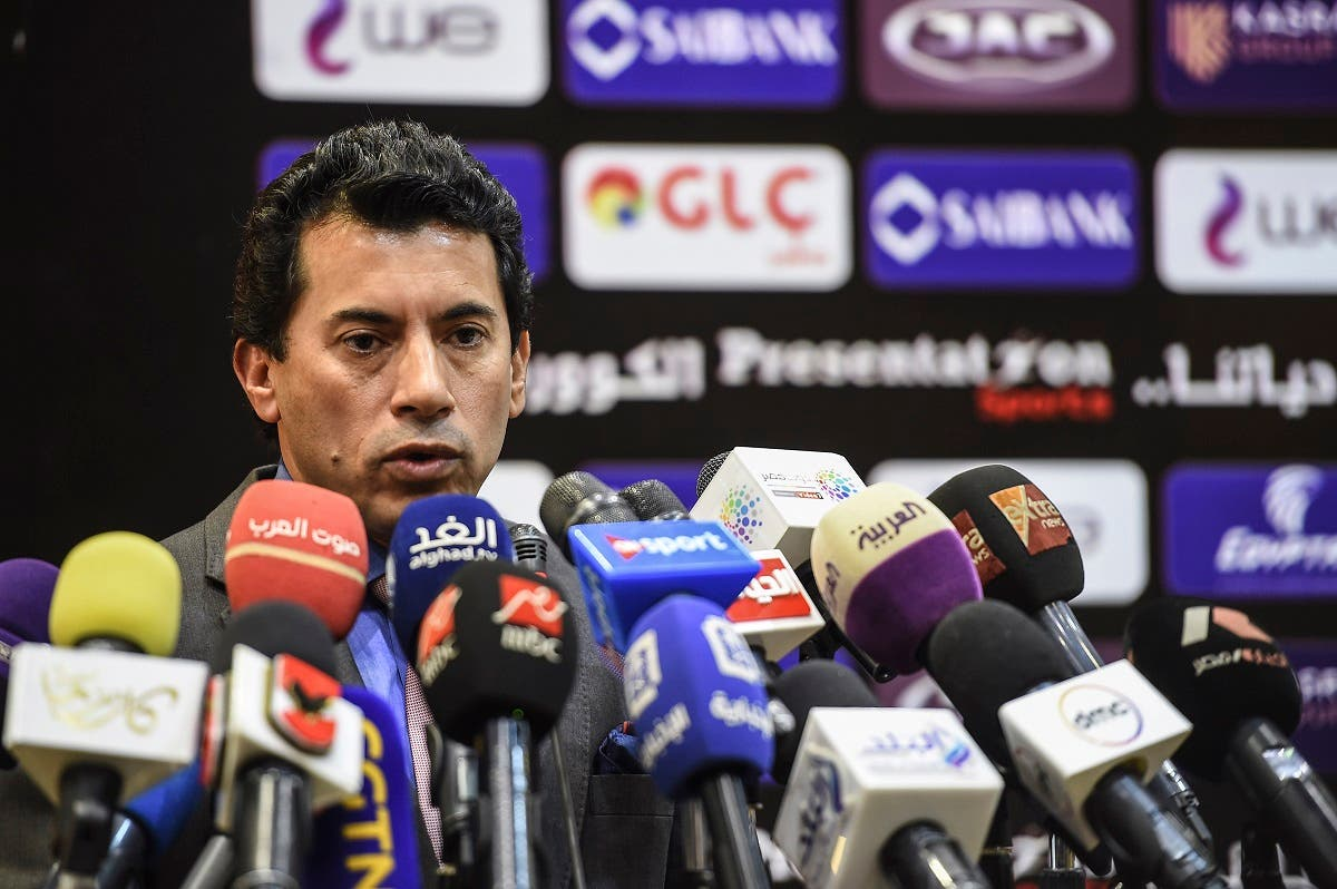 Ashraf Sobhi, Egypt's Ministers of Youth and Sport, speaks during a press conference at the headquarters of the Egyptian Football Association in Cairo, on January 13, 2019. (AFP)