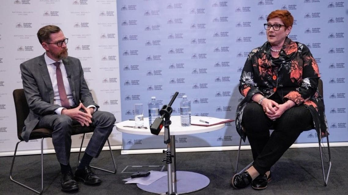 Australian Foreign Minister Marise Payne during her speech on COVID-19 response, the role of institutions, and countering disinformation. (Twitter/@ANUmedia)