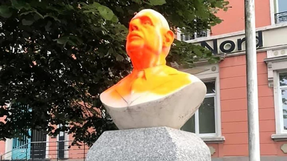 This undated handout photo provided on June 15, 2020 shows a statue dedicated to de Gaulle, after it was vandalized with paint, in Hautmont, northern France. (AFP/Quentin Mabille/ Region Hauts-de-France)