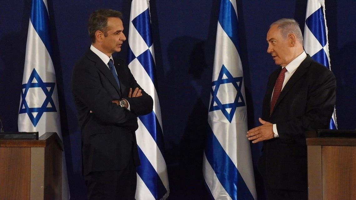 Israeli Prime Minister Benjamin Netanyahu and Greek Prime Minister Kyriakos Mitsotakis issue joint statements in Jerusalem, June 16, 2020. (Reuters)