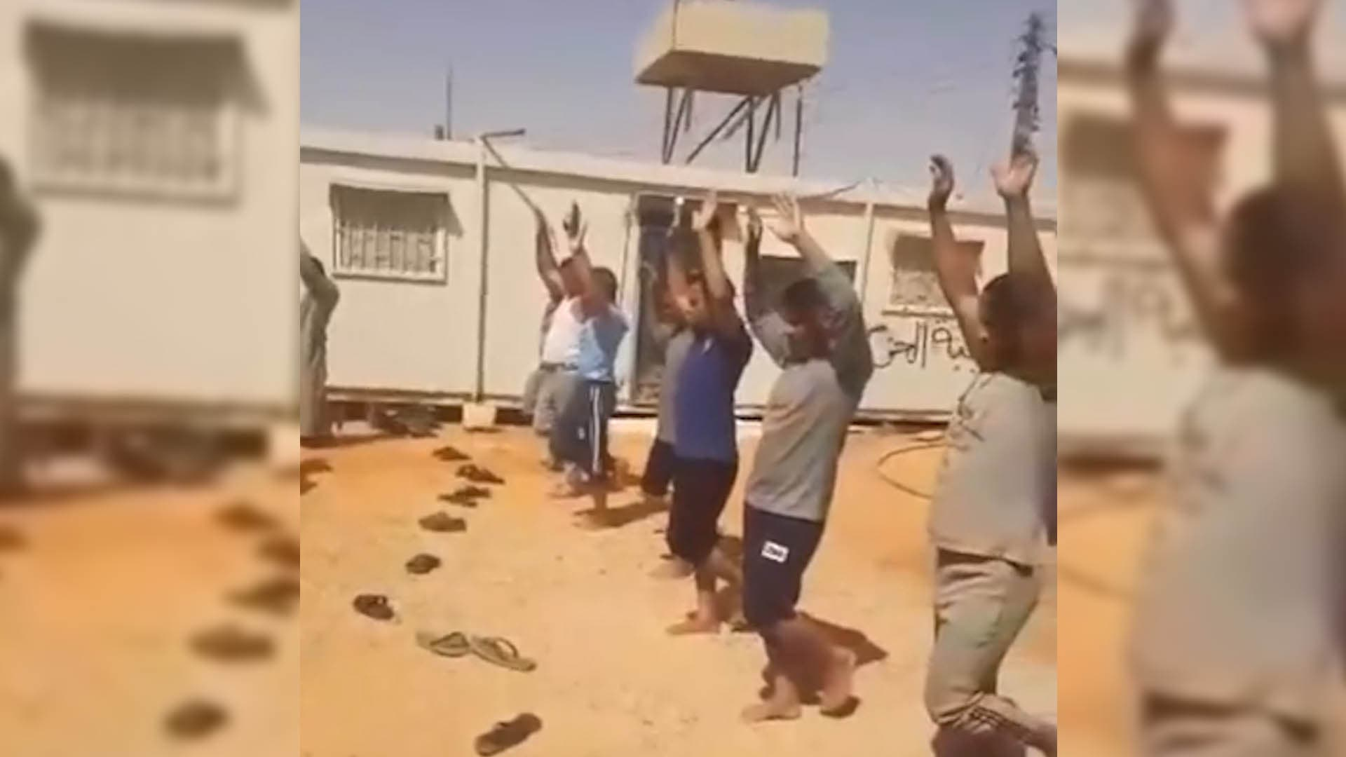 A video has surfaced showing Egyptian workers being tortured and humiliated reportedly by Government of National Accord militias in Libya's Tarhouna. (Supplied)