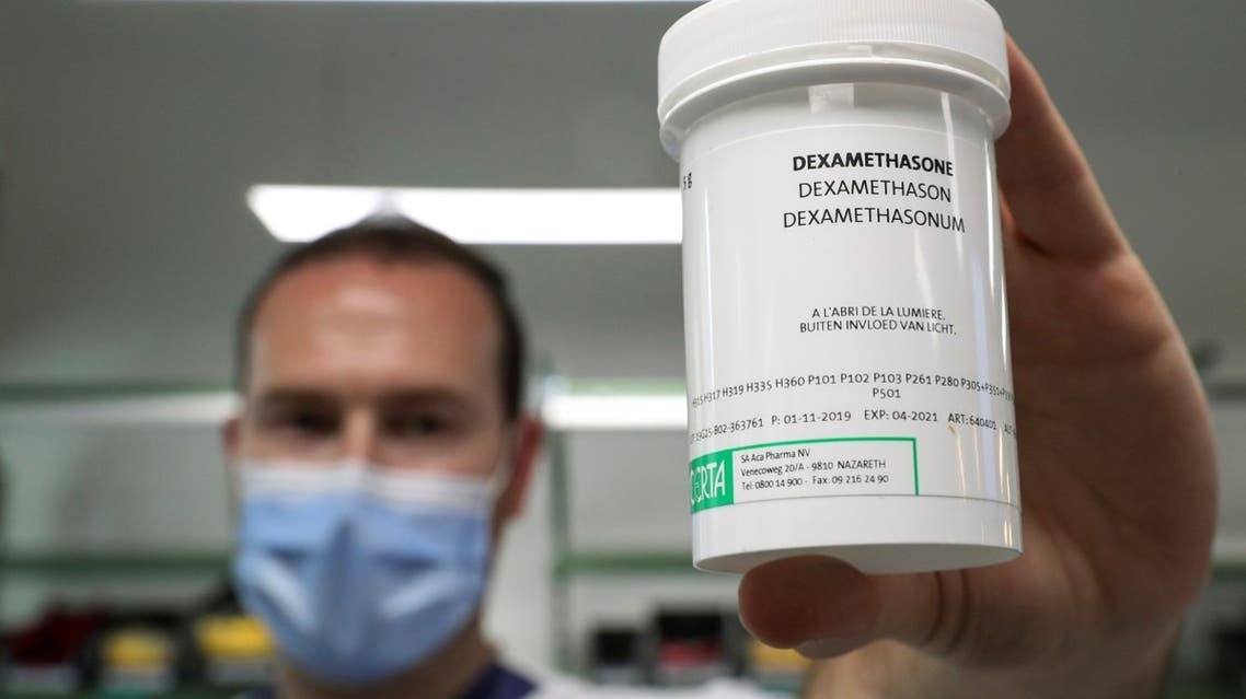 A pharmacist displays a box of Dexamethasone at the Erasme Hospital amid the coronavirus disease (COVID-19) outbreak, in Brussels, Belgium, June 16, 2020. (Reuters)
