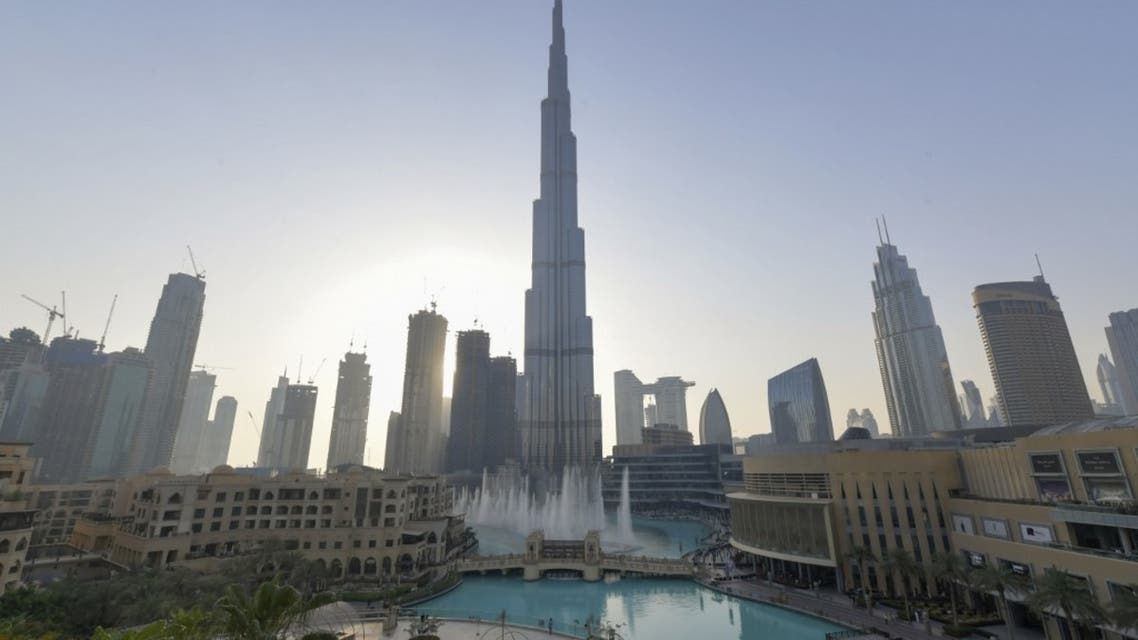 Dubai's fountain show resumes beneath the Burj Khalifa tower, on June 5, 2020, as the Gulf emirate emerges from a lockdown imposed due to the coronavirus pandemic. (AFP)