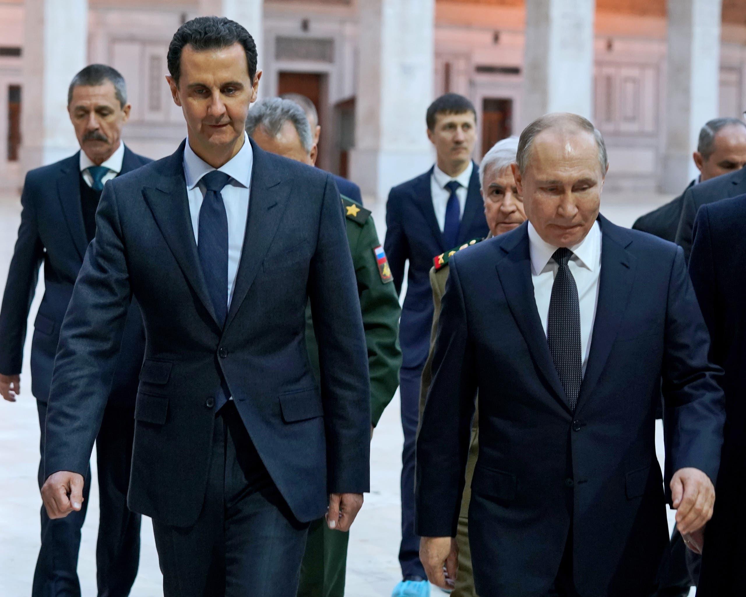 بوتين والأسد في الجامع الأموي بدمشق يوم 7 يناير 2020