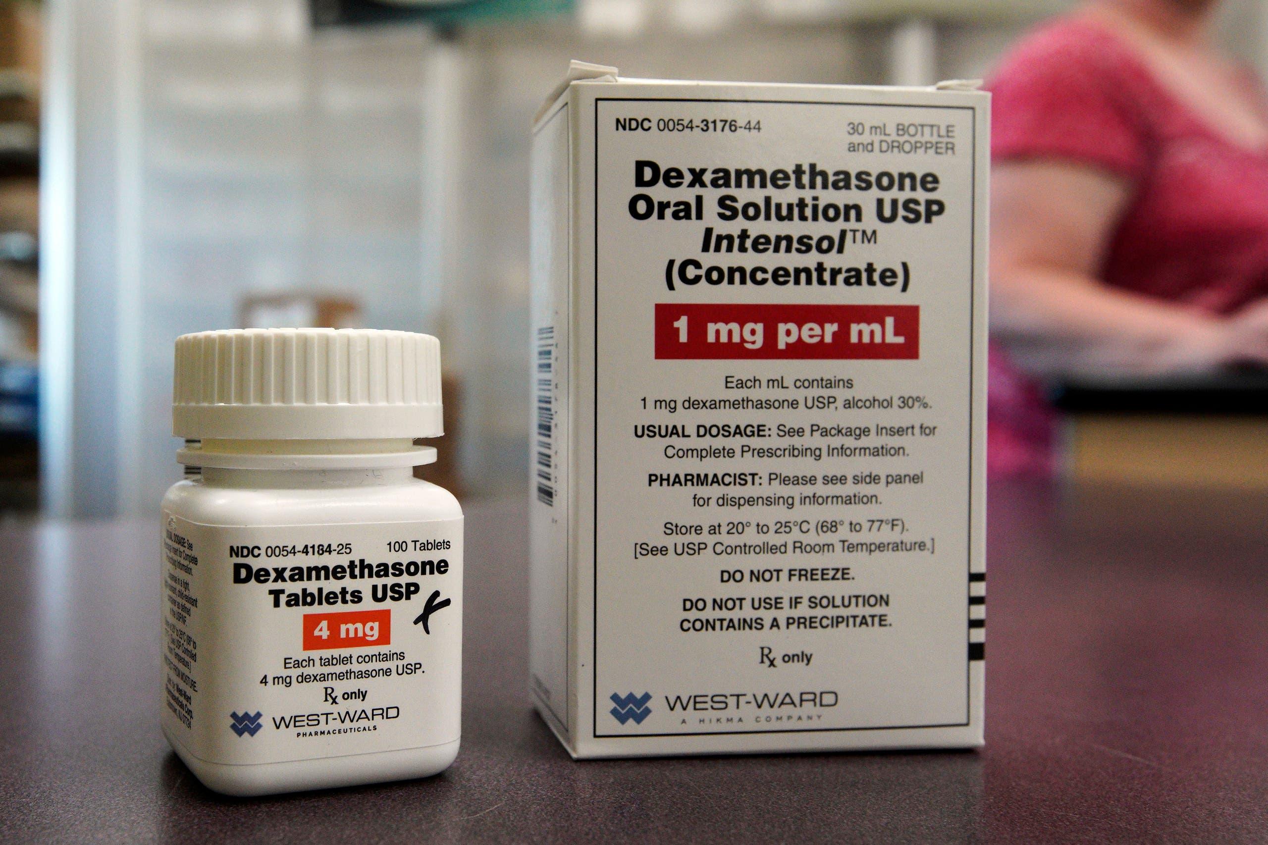 Packages of Dexamethasone are displayed in a pharmacy, Tuesday, June 16, 2020, in Omaha, Nebraska. (AP)