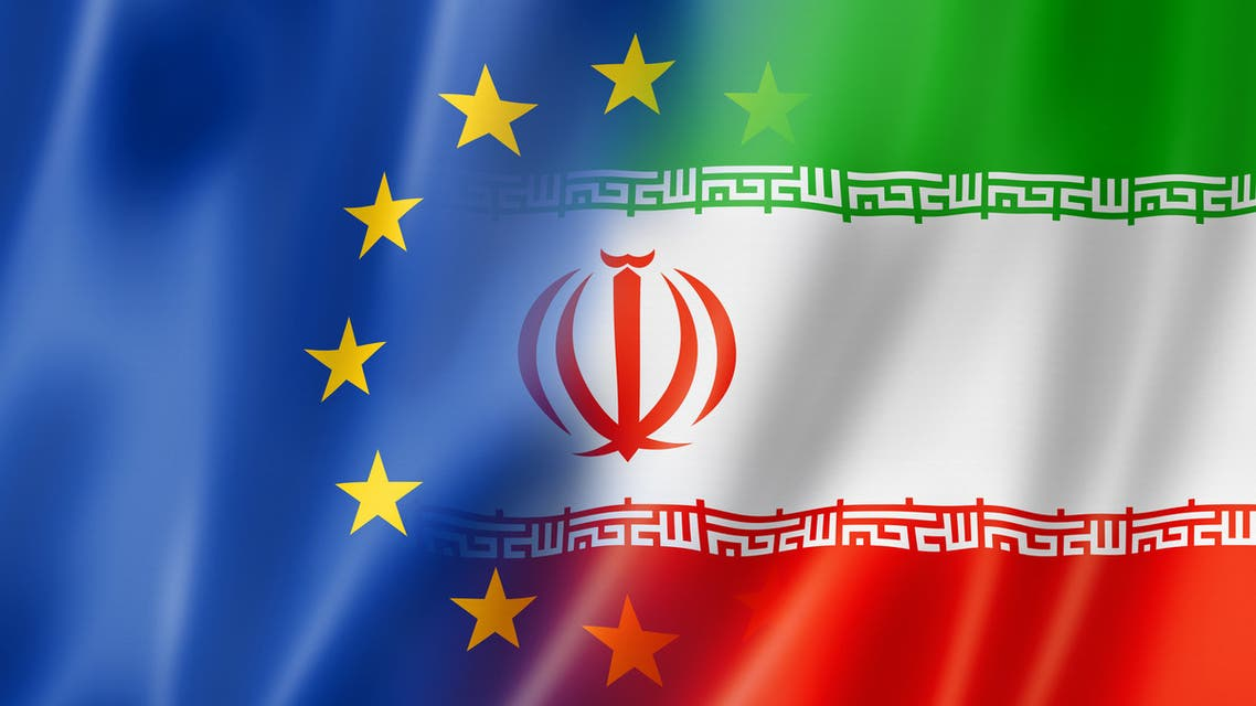 Europe and Iran flag stock photo