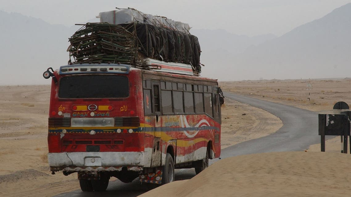 A Pakistani bus coming from Pakistan-Iranian border post Taftan on its way to Quetta on February 1, 2006. (AP)