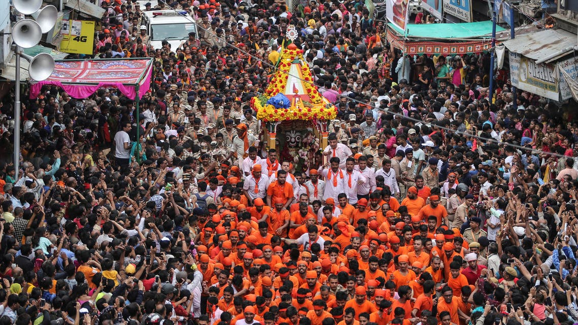 Hindu devotees pull the Rath or the chariot of Lord Jagannath, during the annual Rath Yatra or chariot procession, in Ahmedabad, India, July 4, 2019. (Reuters)