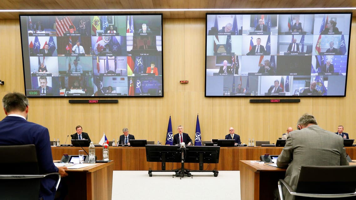 NATO Secretary-General Jens Stoltenberg chairs a NATO defence ministers meeting via teleconference at the Alliance headquarters in Brussels, Belgium June 17, 2020. REUTERS/Francois Lenoir/Pool