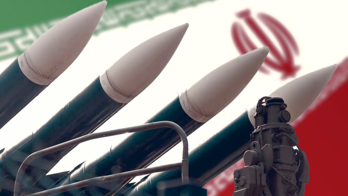 Cruise missiles on the background of the flag of Iran. The concept of a military conflict in the Persian Gulf. stock photo