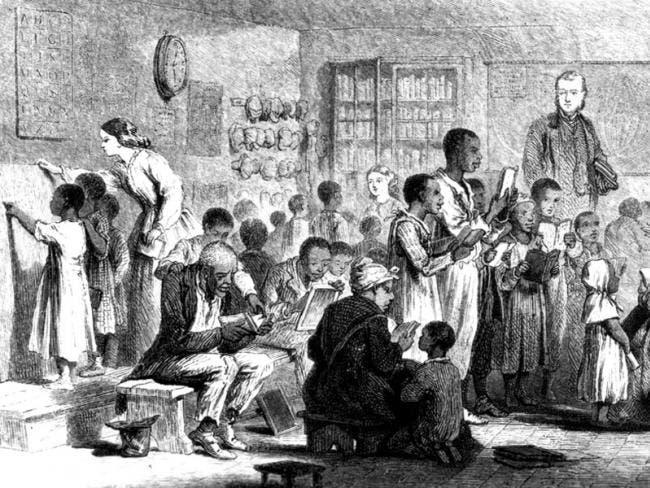 رسم يجسد تعليم عدد من ذوي الأصول الأفريقية القراءة و الكتابة
