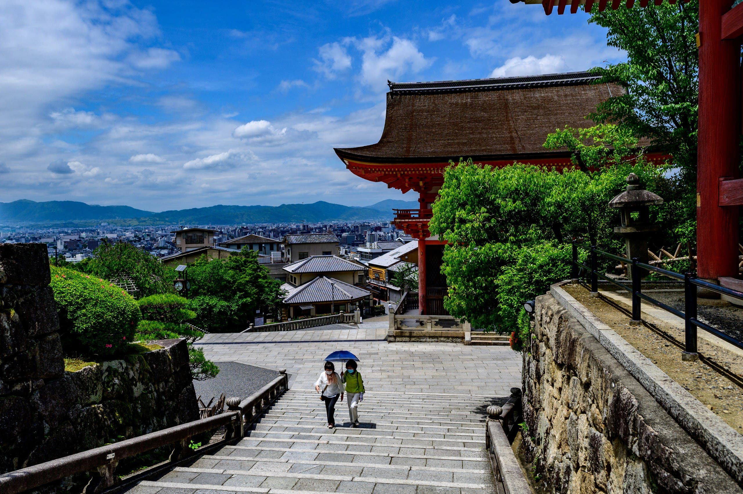 Visitors at the Kiyomizu temple, a UNESCO site near Kyoto, Japan, May 22, 2020. (AFP)