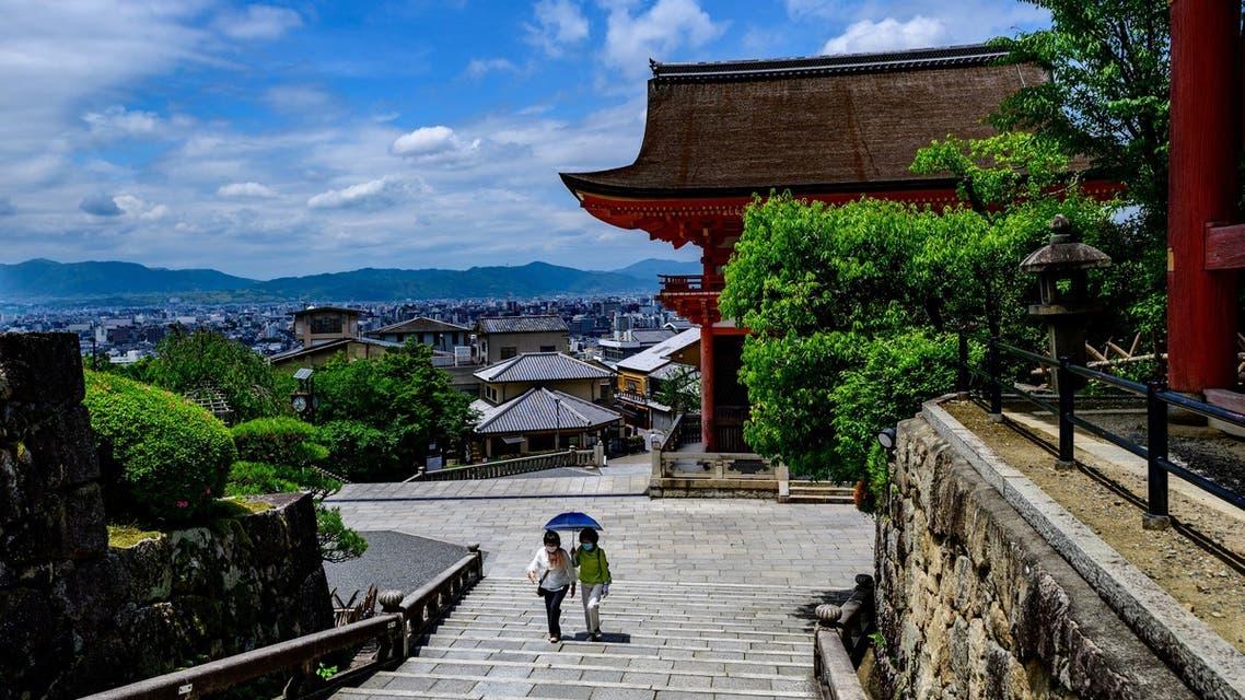Visitors at the Kiyomizu temple, a UNESCO site near Kyoto, Japan, May 22, 2020. (AFP)