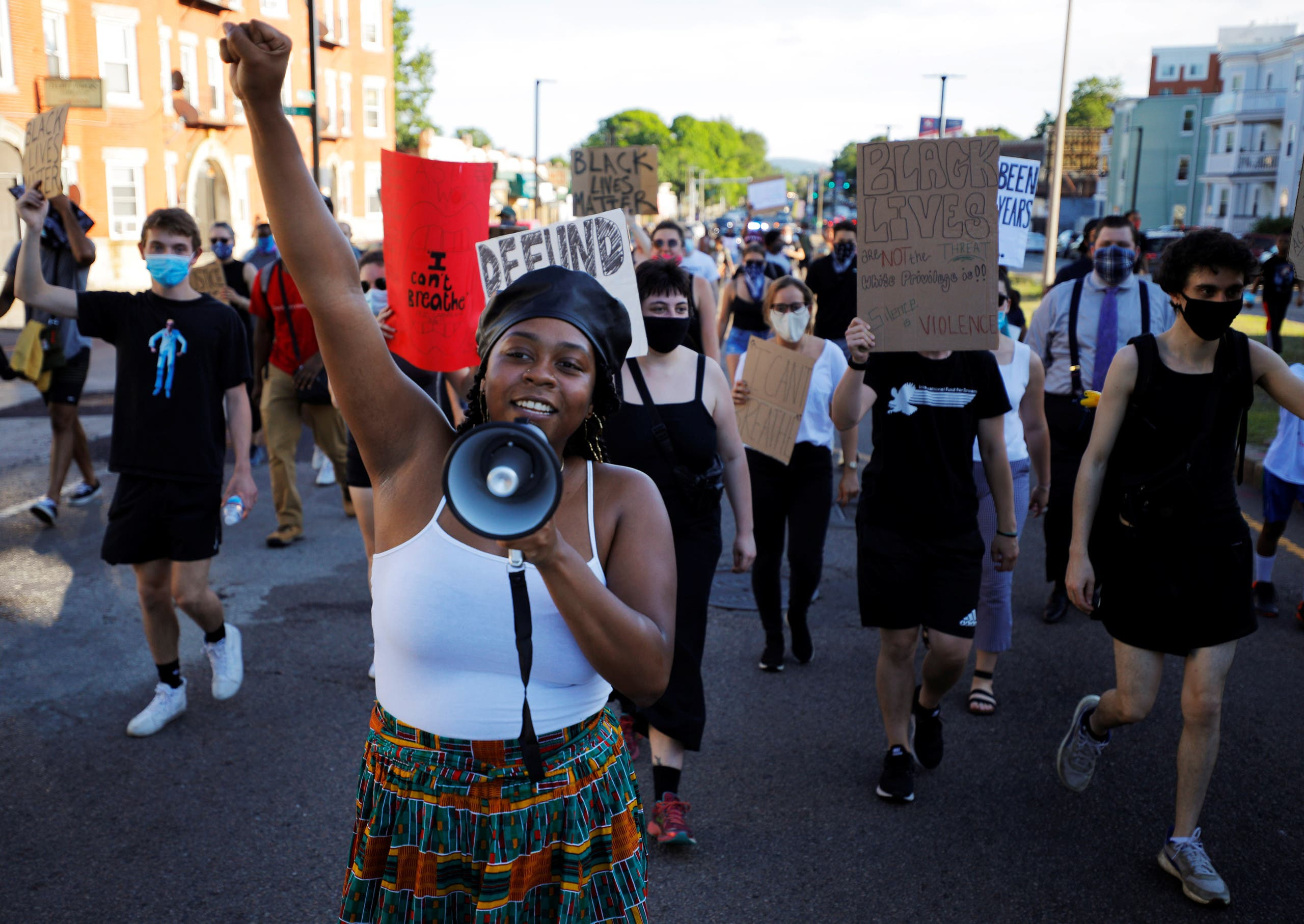 Shannon Greaves helps lead a Juneteenth Awareness Walk to demonstrate against racial inequality in the aftermath of the death in Minneapolis police custody of George Floyd, in Boston, Massachusetts, U.S., June 18, 2020. (Reuters)