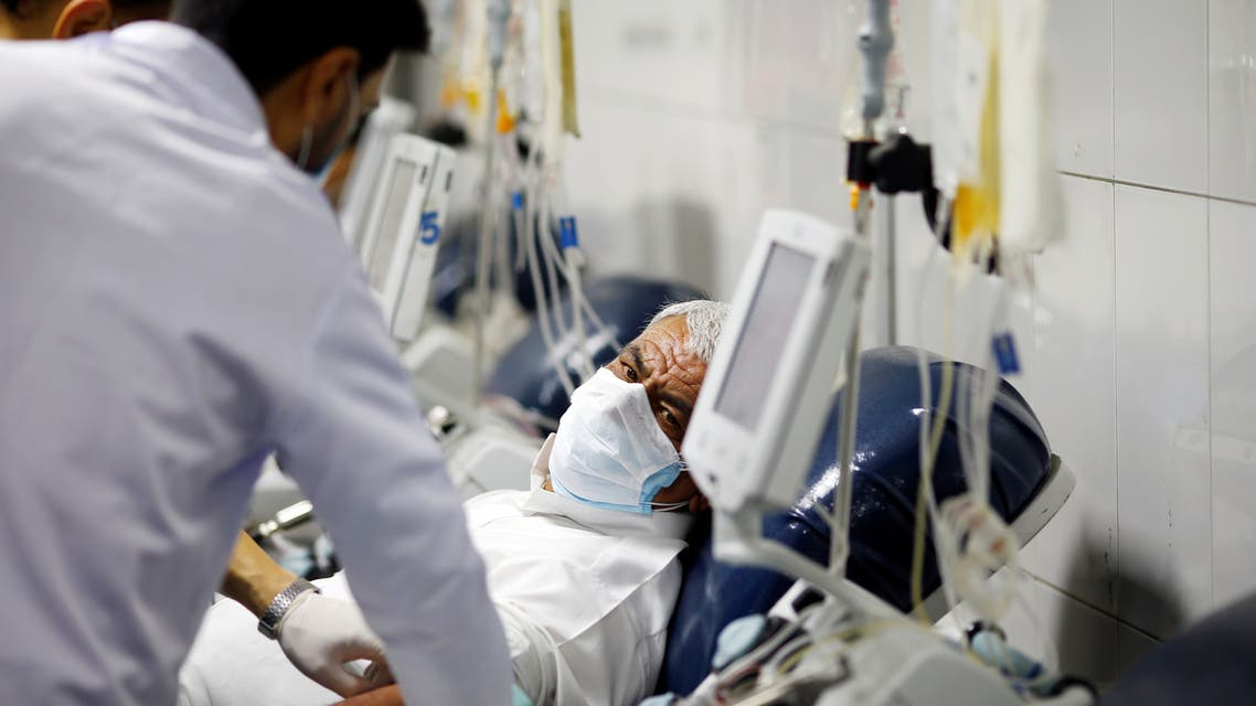 A man who has recovered from the coronavirus disease (COVID-19) donates his plasma to help critically ill patients at National Blood Transfusion Center in Baghdad, Iraq June 18, 2020. REUTERS/Thaier Al-Sudani