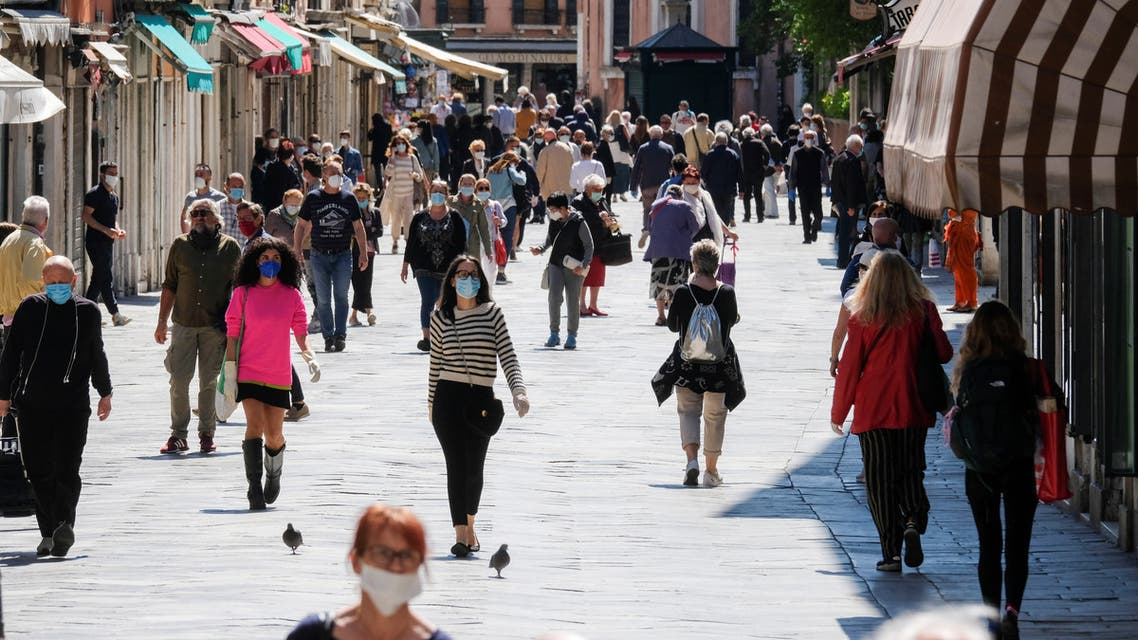 More movement is seen in the streets as the country begins slightly relaxing restrictions, as it prepares a staged end to Europes longest lockdown due to spread of the coronavirus disease (COVID-19), in Venice. (Reuters)