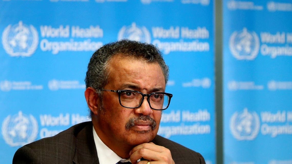 Director General of the World Health Organization (WHO) Tedros Adhanom Ghebreyesus attends a news conference. (Reuters)