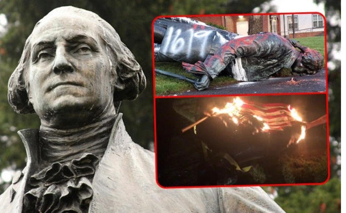 إسقاط وحرق تمثال جورج واشنطن