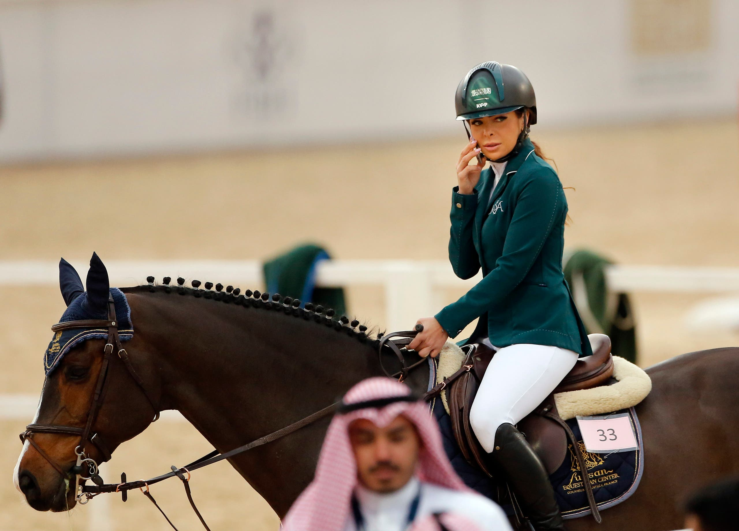 Saudi Dalma Malhas rides her horse during the Diriyah Equestrian Festival, where male and female equestrians are riding side-by-side for the first time in Riyadh Saudi Arabia. (File photo: AP)