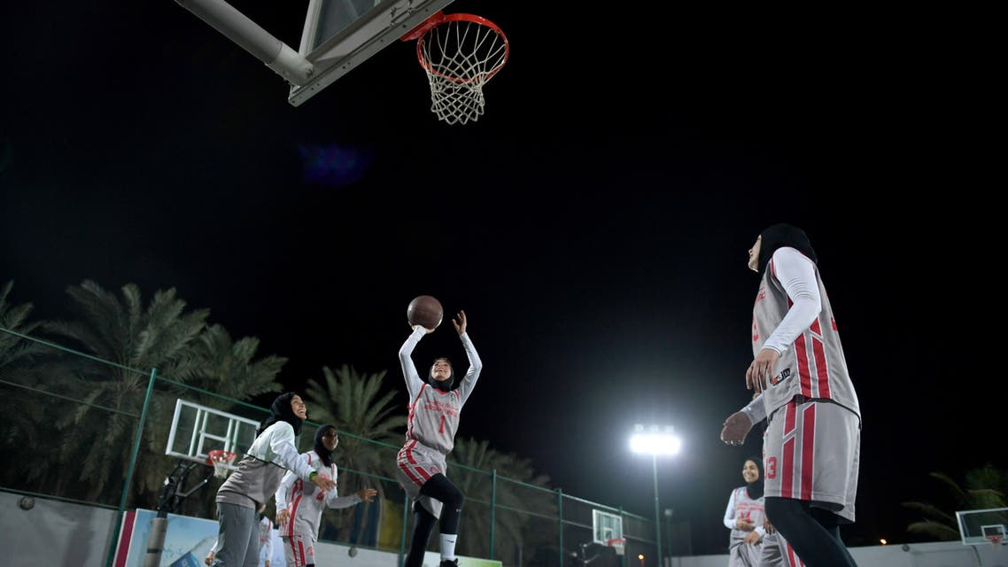 Players from Jeddah United, Saudi Arabia's first women's basketball team train at their club in the coastal city of Jeddah on February 18, 2018. (AFP)