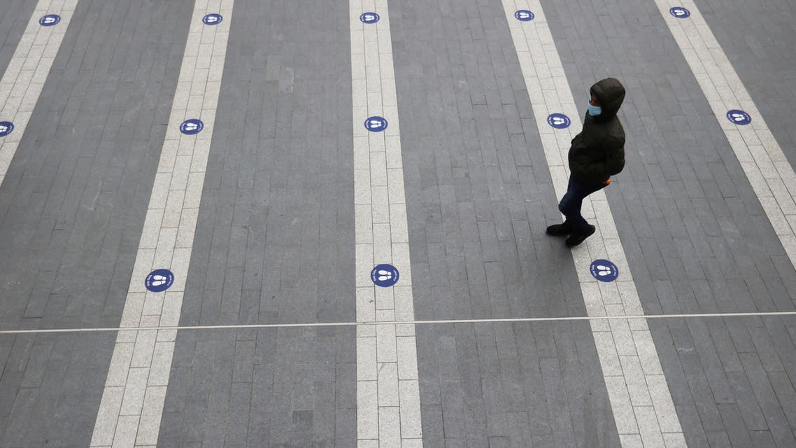Social distancing signs in Birmingham, UK. (File photo, Reuters)