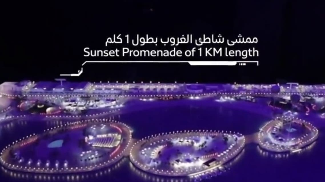 """A screengrab of a video showing the new construction project """"floating islands"""" in Dubai. (Twitter/@rta_dubai)"""