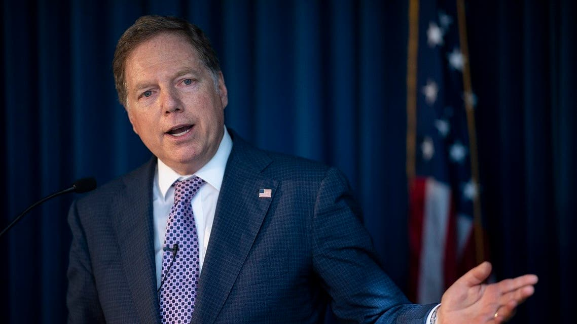In this file photo taken on October 10, 2019 US Attorney for the Southern District of New York Geoffrey Berman speaks during a press conference in New York City. (AFP)