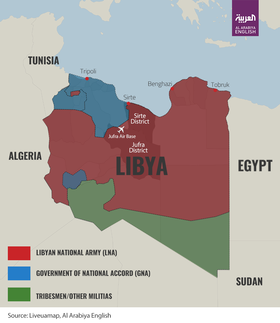 A map showing the battle lines in Libya as of June 22, 2020.