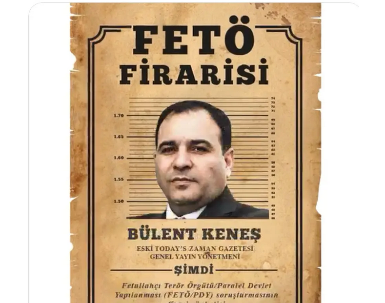"A ""Wanted"" poster for Bulent Kenes distributed by Turkey's semi-official Anadolu news agency. (Supplied)"