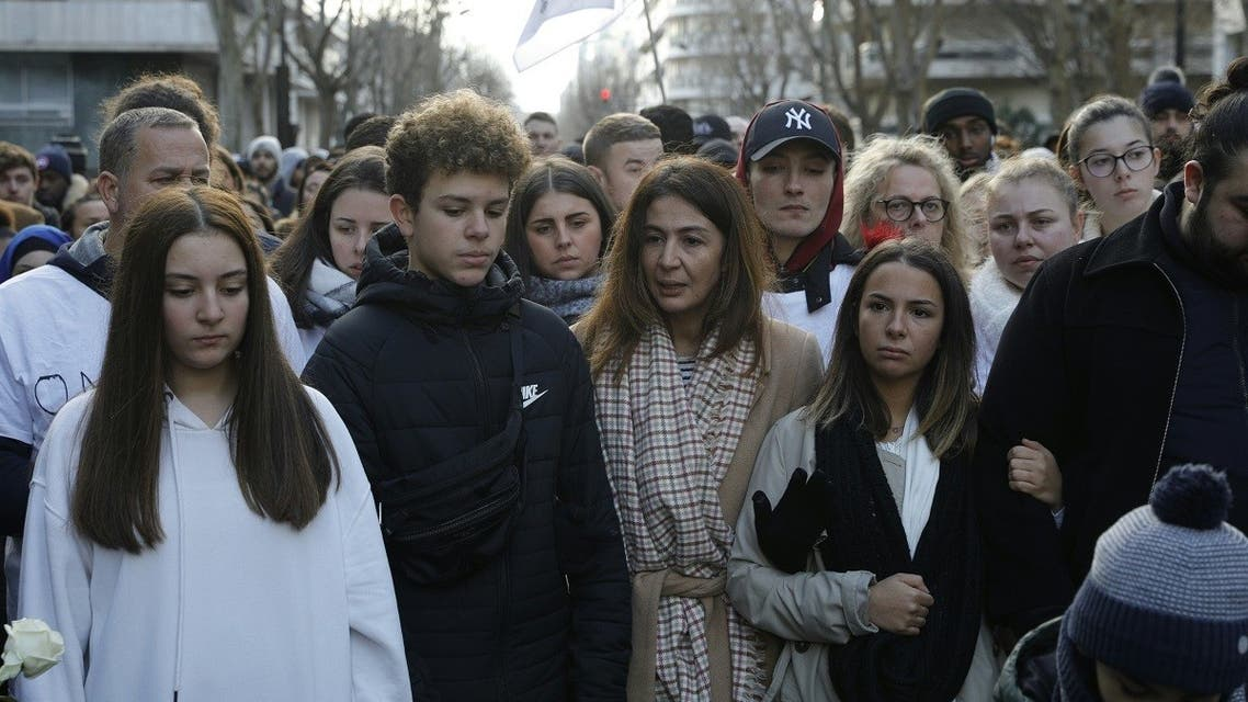 Doria Chouviat (C) and her relatives attend on January 12, 2020 a rally in the streets of Levallois for her late husband, Cedric Chouviat. (AFP)Doria Chouviat (C) and her relatives attend on January 12, 2020 a rally in the streets of Levallois for her late husband, Cedric Chouviat. (AFP)