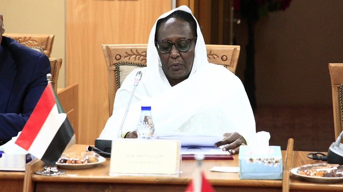 A file photo of Asmaa Abdallah, Sudan's foreign minister, is pictured during a meeting with her Egyptian counterpart (unseen) in Khartoum on September 9, 2019. (AFP)