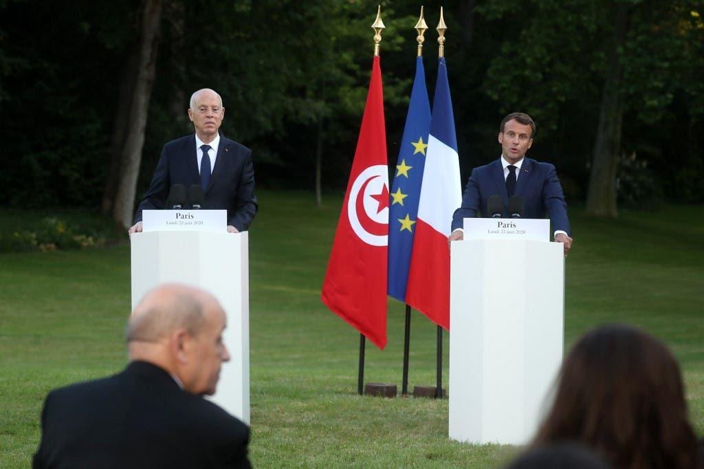 الرئيسان الفرنسي إيمانويل ماكرون والتونسي قيس سعيد