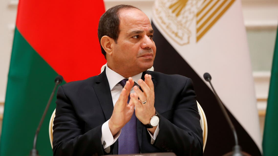 FILE PHOTO: Egyptian President Abdel Fattah al-Sisi is seen during a meeting with Belarusian President Alexander Lukashenko in Minsk, Belarus June 18, 2019. REUTERS/Vasily Fedosenko/File Photo