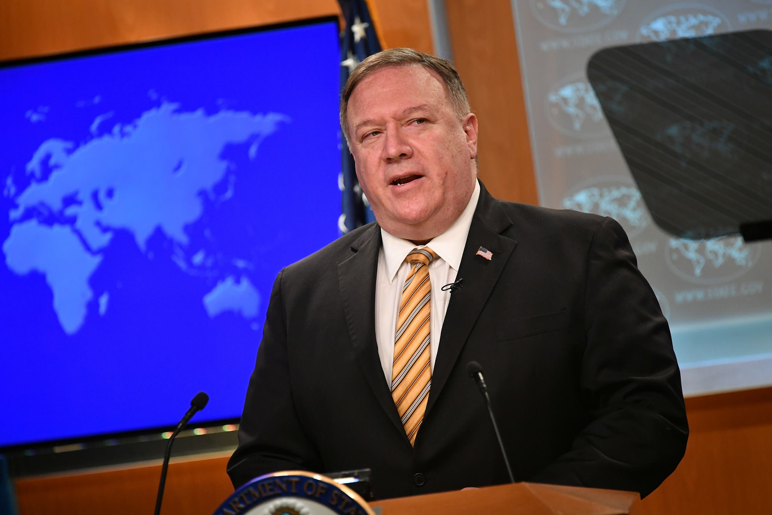 US Secretary of State Mike Pompeo gives a news conference about dealings with China on June 24, 2020. (Reuters)
